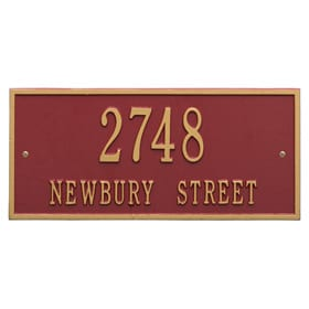 Whitehall Hartford Address Plaque Red Gold