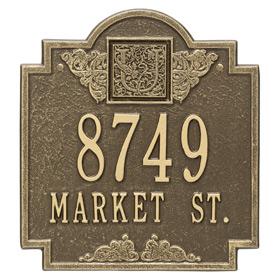Whitehall Monogram Address Plaque Antique Brass