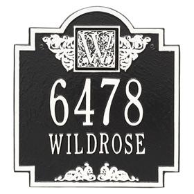 Whitehall Monogram Address Plaque Black White