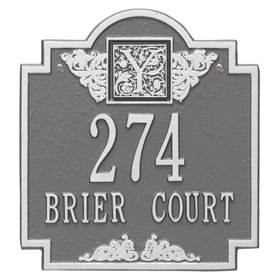 Whitehall Monogram Address Plaque Pewter Silver