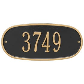Whitehall Oval Address Plaque Black Gold
