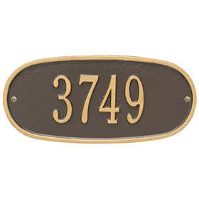Whitehall Oval Address Plaque Bronze Gold