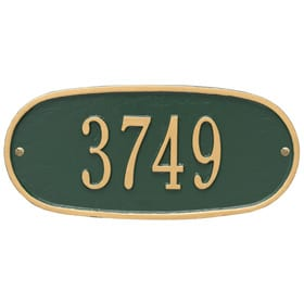 Whitehall Oval Address Plaque Green Gold