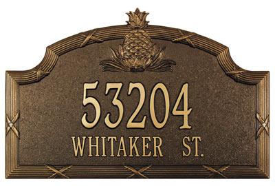 Whitehall Ribbon Reed Pineapple Address Plaque