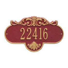 Whitehall Rochelle Address Plaque Red Gold