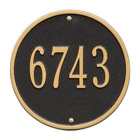 Whitehall Round Address Plaque Black Gold