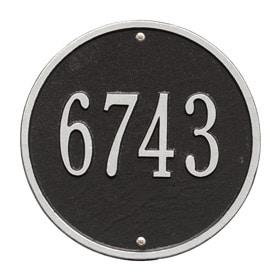 Whitehall Round Address Plaque Black Silver