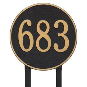 Whitehall Round Lawn Marker Black Gold