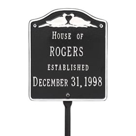 Whitehall Wedding Lawn Marker Black White