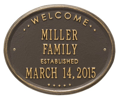 Whitehall Welcome Oval Family Established Plaque