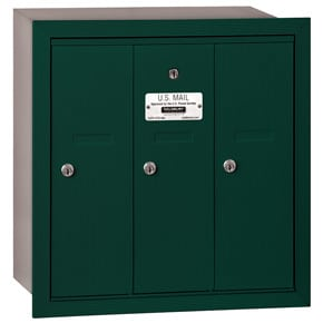 Salsbury 3 Door Vertical Mailbox Green