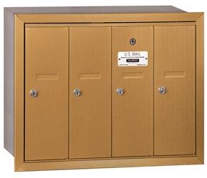 Salsbury 4 Door Vertical Mailbox Brass