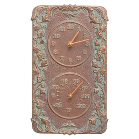 Whitehall Acanthus Clock Thermometer Copper Verdigris