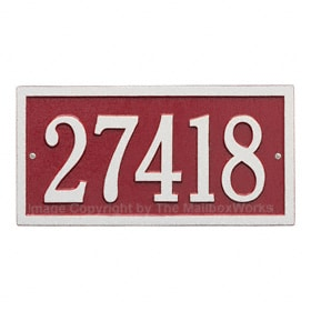 Whitehall Bismark Address Plaque Red Silver