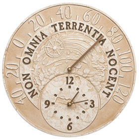 Whitehall Celestial Clock Thermometer Weathered Limestone