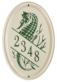 Whitehall Sea Horse Vertical Oval Green
