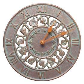 Whitehall Ivy Clock Copper Verdigris