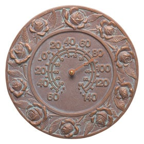 Whitehall Rose Thermometer Copper Verdigris