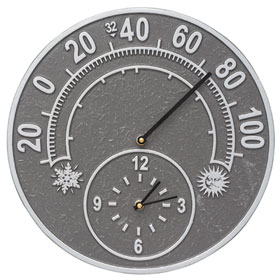 Whitehall Solstice Clock Thermometer Pewter Silver