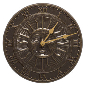 Whitehall Sunface Clock French Bronze