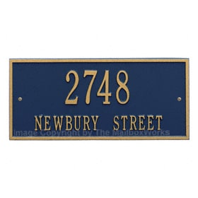 Whitehall Hartford Address Plaque Blue Gold