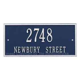 Whitehall Hartford Address Plaque Blue Silver