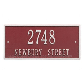 Whitehall Hartford Address Plaque Red Silver