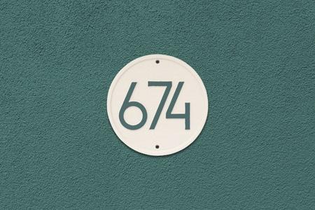 Whitehall Modern Round Address Plaque Installed