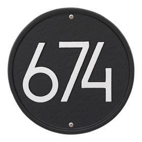 Whitehall Modern Round Plaque Black Silver
