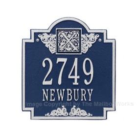 Whitehall Monogram Address Plaque Blue Silver