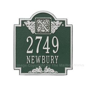 Whitehall Monogram Address Plaque Green Silver