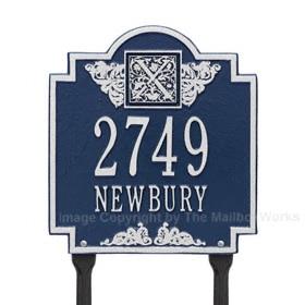 Whitehall Monogram Lawn Marker Blue Silver
