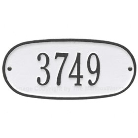 Whitehall Oval Address Plaque White Black