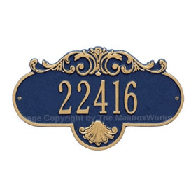 Whitehall Rochelle Address Plaque Blue Gold