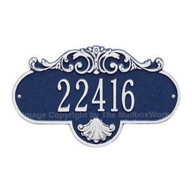 Whitehall Rochelle Address Plaque Blue Silver