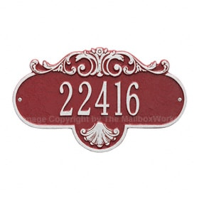 Whitehall Rochelle Address Plaque Red Silver