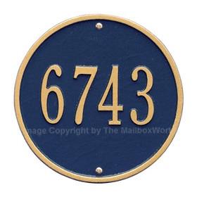 Whitehall Round Address Plaque Blue Gold