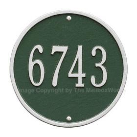 Whitehall Round Address Plaque Green Silver