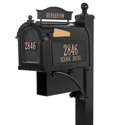 Whitehall Ultimate Mailbox Package Black Gold