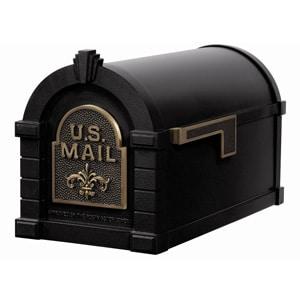 Fleur Keystone Mailbox Black Antique Bronze