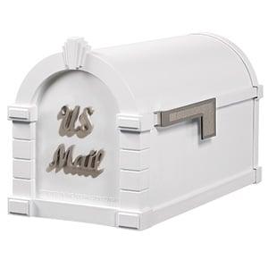 Signature Keystone Mailbox White Satin Nickel