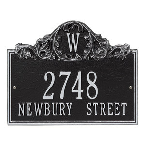 Whitehall Acanthus Monogram Plaque Black Silver