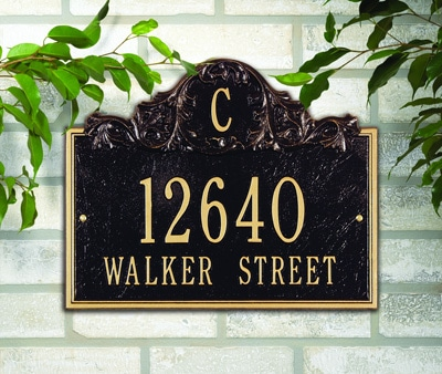 Whitehall Acanthus Monogram Address Plaque Installed