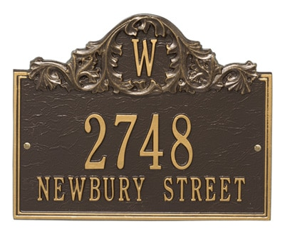 Whitehall Acanthus Monogram Address Plaque