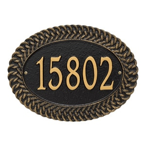 Whitehall Chartwell Address Plaque Black Gold