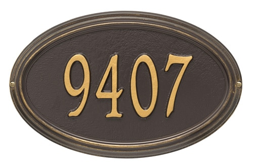 Whitehall Concord Oval Address Plaque