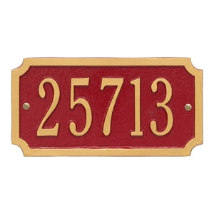 Whitehall Cut Corner Plaque Red Gold
