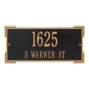 Whitehall Roanoke Address Plaque Black Gold
