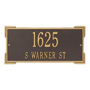 Whitehall Roanoke Address Plaque Bronze Gold