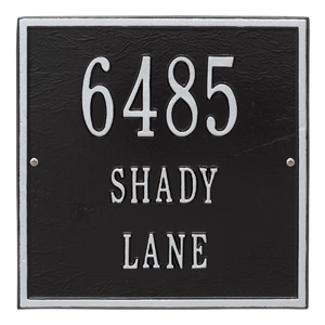 Whitehall Square Address Plaque Black Silver